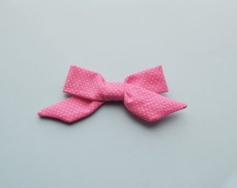 Sophie Hand-tied Pink Polka Dot Simple Classic Fabric Bow Nylon Elastic or Alligator Clip
