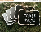 SALE- Fancy Wood Chalkboard Labels - set of 4 - Basket Labels, Chalkboard Tags, Wedding Chalkboards, Rustic Wedding