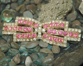 Cool Rhinestone Bow Finding, Pink Crystal Gold, Buckle, Necklace, Barrette, Picture Frame, Crafts, Excellent Condition