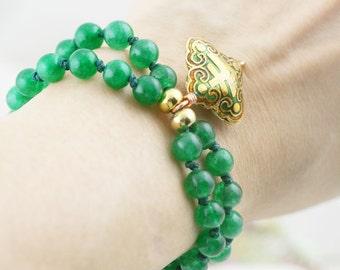 Propitious bracelet - jade and cloisonne