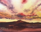 original watercolor of Pedernal Mountain in New Mexico at Sunset, painted en plein air, not a print