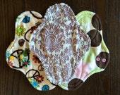 "9.5"" Medium Flow Reusable Cloth Pad ~ Sable Dauphine, Groovy, and Retro Dot Minky ~ by Talulah Bean"