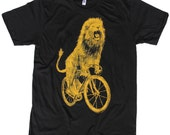 Mens T Shirt - Lion on a Bicycle - American Apparel Unisex Black Shirt