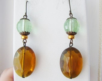 Autumn brass, amber and green dangling beaded earrings (B1)