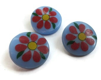Daisies Vintage Glass Buttons - 1940s Antique Sky Blue Flowers 3/4 inch 19mm for Jewelry Beads Sewing Knitting