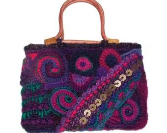 Small Women's Freeform Crochet Handbag OOAK Freeform wearable art