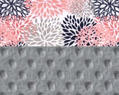 Coral Minky Baby Blanket Girl, Blooms Flowers Navy Gray Personalized Baby Blanket - Nursery Decor Girl