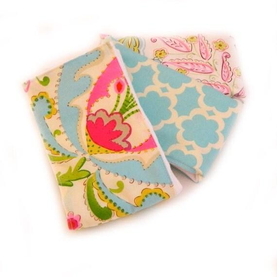 Girl Burp Cloth set of 3 - Flowers Pink Blue Yellow Cream Floral - Diaper Burp Cloths // Cotton Burp Cloths / Baby Shower Gift