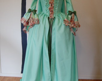 Spring green  Marie Antoinette Victorian inspired rococo costume dress sack sacque back