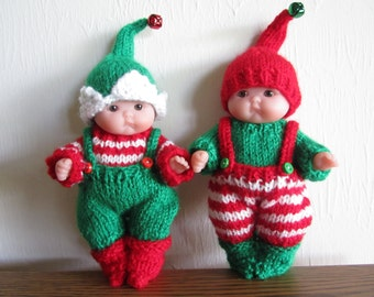 Santa's Itty Bitty Elf Knitting Pattern 5 Inch Chubby Lots to Love Berenguer Baby Dolls striped or plain dungarees elf shoes hat sweater
