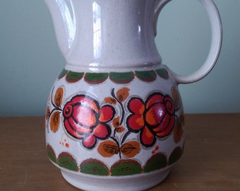 Ceramic Vintage Coffee Carafe with Red and Orange Flowers.