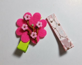 2 Pcs Cherry Blossoms Theme - Hair Clip for Baby and Toddler (Alligator Clip)with Silicone Non-Slip Grip