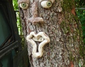 Goofy Tree Face-Ceramic Tree Face-Garden Art