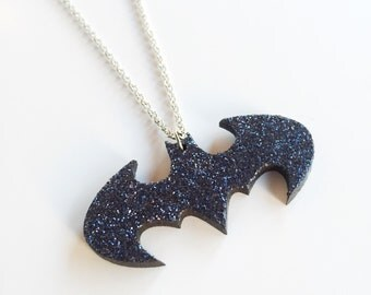Glittery navy blue Batman necklace