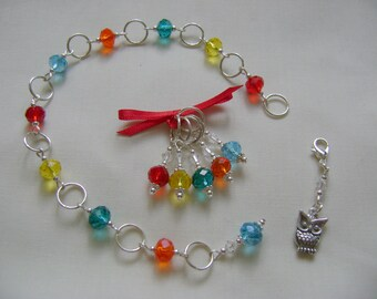 Rainbow Rondelle Row Counter and Stitch Marker Set