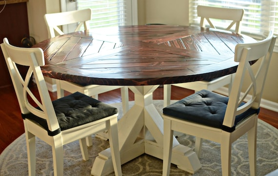 Solid Wood Round Table Set: Items Similar To Solid Wood Round Dining Table On Etsy