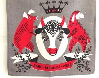 Vintage Tammis Keefe Towel Barbecue Beef Ham Lamb