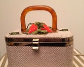 Vintage 1960s Box Purse with Strawberries and a Lucite Handle