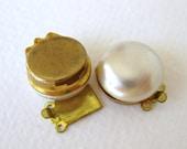 Vintage Pearl Clasp Ivory Cabochon Brass Box Three Strand Triple 14mm clp0031 (2)