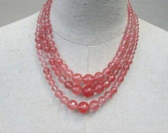 Cherry Quartz Triple Strand Beaded Necklace, Melon Pink Coral Beads