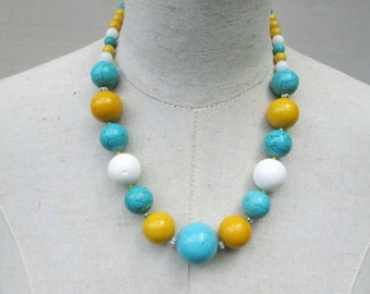 Turquoise Yellow White Chunky Beaded Necklace