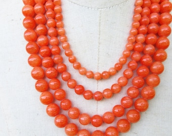 Chunky Orange Multi Strand Graduated Beaded Layered Necklace, Statement