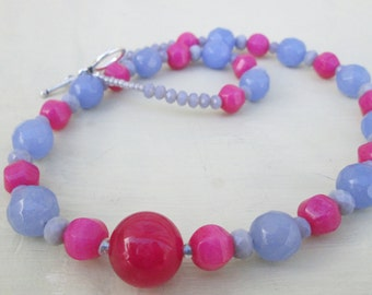 Periwinkle Blue Hot Pink Beaded Necklace, Choker