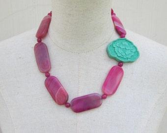 Hot Pink  Mint Green Chunky Beaded Necklace,  Sea Foam Fuschia Asymmetrical Statement Beads