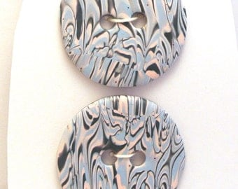 Large Round Buttons Pink and Blue Handmade Polymer Clay 35mm