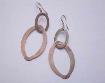minimalist brushed silver dangle earrings