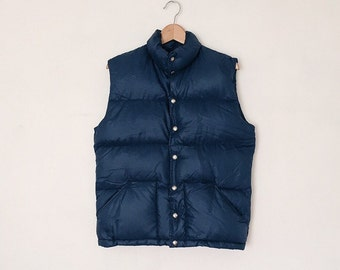 Vintage 1980s The North Face Navy Down Puffer Vest - M
