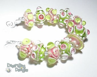 FLIRTALICIOUS Lampwork Beads Handmade Green Hot Pink White  Bold and Textured  Set of 11