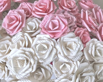 50 Long Stem Ivory and Pink Book Page Paper Roses