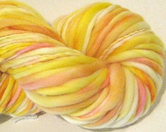 Handspun Yarn Sunshine 114 yards hand dyed merino wool yellow yarn,  gold yarn, pink waldorf doll hair knitting supplies crochet supplies