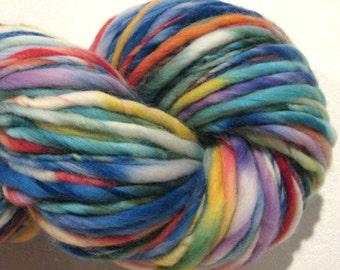 Handspun yarn Parade 132 yds rainbow yarn bulky yarn thick adn thin yarn handdyed merino wool blue yarn knitting supplies crochet supplies