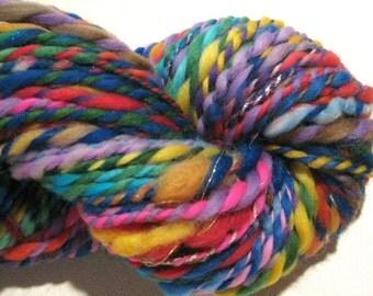 Handspun Yarn Waste Not Want Not C 126 yards rainbow yarn knitting supplies crochet supplies waldorf doll hair