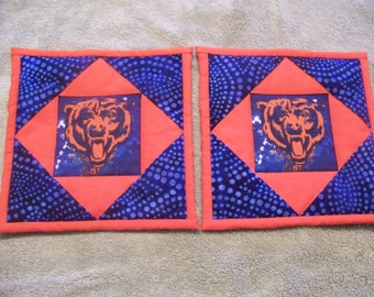 Chicago Bears - quilted potholders, pair