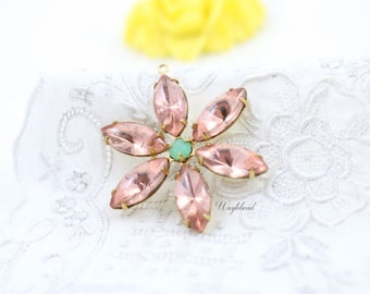 Rosaline and Opal Green Flower Pendant with Vintage Stones in Brass Setting 35mm - FA08
