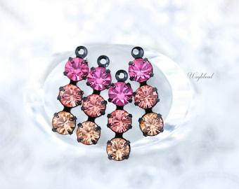 Triple Rhinestone Charms Connectors Swarovski Crystal Set Stones - Rose Pink Rose Peach & Light Peach - 4