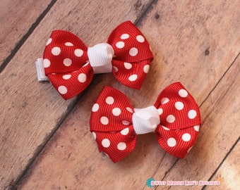Girls Pigtail Bows--Red Polka Dots--2 Inches