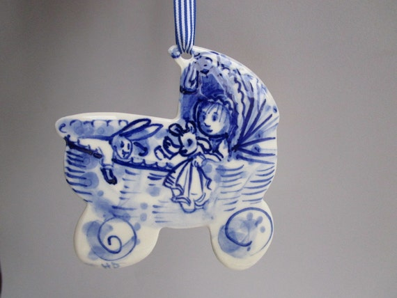 Cradle  - Handpainted porcelain wall hanging - Dutch Delft Blue Baby Gift Origininal - Porcelain