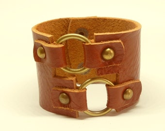 Whisky Brown Rustic Double Rings Leather Cuff Leather Bracelet Hand Cut