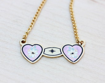 Two Heart Necklace, Pink Heart Necklace, Enamel Heart Necklace, Double Heart Necklace, Vintage Heart Necklace, Pink Necklace, Heart Necklace