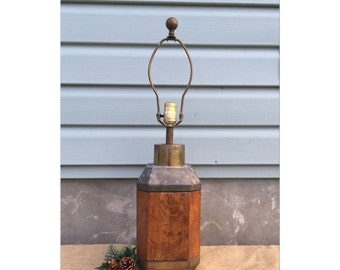 Table Lamp - Accent Lamp - Rustic Decor - Wood Lamp - Brass Lamp - Industrial Decor - Chic
