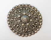 Etruscan Style Brooch Pendant Silver Tone Boho Tribal Vintage