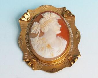 Goddess Flora Cameo Brooch 10K Gold Carved Shell Art Deco Vintage