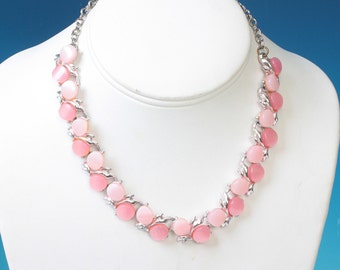 Pink Moonglow Choker Necklace Vintage Silver Tone Pink Lucite