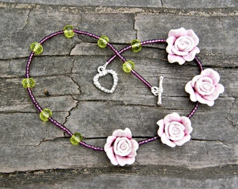 Purple Rose and Vintage Italian Seed Bead Necklace