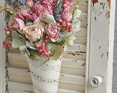 Dried Flower Arrangement with Lavender, Roses, Hydrangea, Sheet Music cone
