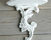 White Wood Wall Sconce / Distressed Paint / Shabby Cottage Chic Decor